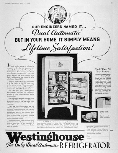 Westinghouse Refrigerator Ad - Dual Automatic