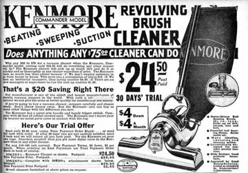1932 ad for the Kenmore Vacuum Cleaner