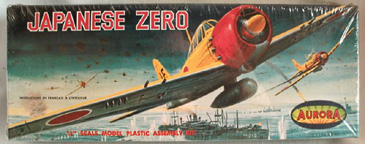 Aurora plastic model kit for the Mitsubishi A6M Zero  box art by Jo Kotula