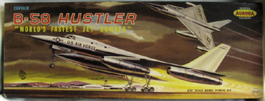 Aurora plastic model kit for the Convair B-58 Hustler  box art by Jo Kotula