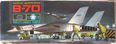 Aurora plastic model kit for the B-70 box art by Jo Kotula