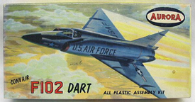 Aurora plastic model kit for the Convair F-102 Delta Dagger  box art by Jo Kotula