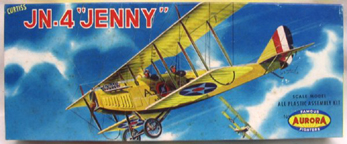 Aurora plastic model kit for the Curtiss JN-4 Jenny  box art by Jo Kotula