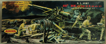 Aurora plastic model kit for the 80 mm Howitzer box art by Jo Kotula