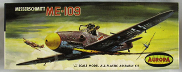 Aurora plastic model kit for the Messerschmitt Bf 109 Fighter box art by Jo Kotula