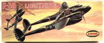 Aurora plastic model kit for the Lockheed P-38 Lightning box art by Jo Kotula