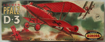 Aurora plastic model kit for the Pfalz D. III (D3) box art by Jo Kotula