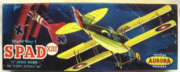 Aurora plastic model kit for the SPAD S. XIII box art by Jo Kotula