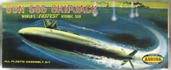 Aurora plastic model kit for the submarine Skipjack box art by Jo Kotula