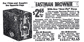1935 Sears Catalogue ad for a Kodak Brownie Box Camera