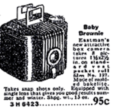 Baby Brownie Advertisement in the 1935 Sears Catalogue