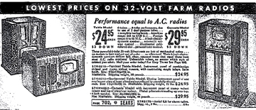 1935 Ad for Sears Farm Radios