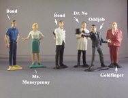 A.C. Gilbert Company James Bond Figurines, slot car scale