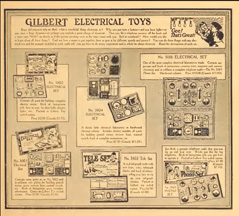Catalogue page for the A.C. Gilbert Company Elementary Electricity Sets