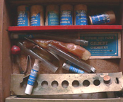 A.C. Gilbert Company Wooden 1920s Chemistry Set interior as found