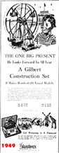 1949 Advertisement for Erector sets as Christmas Gifts
