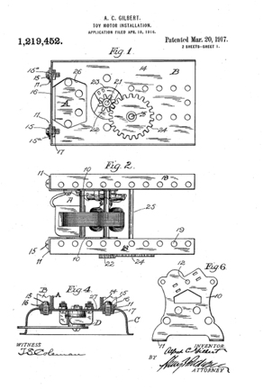 Patent for the Erector Set P-58 Motor 1,219,452