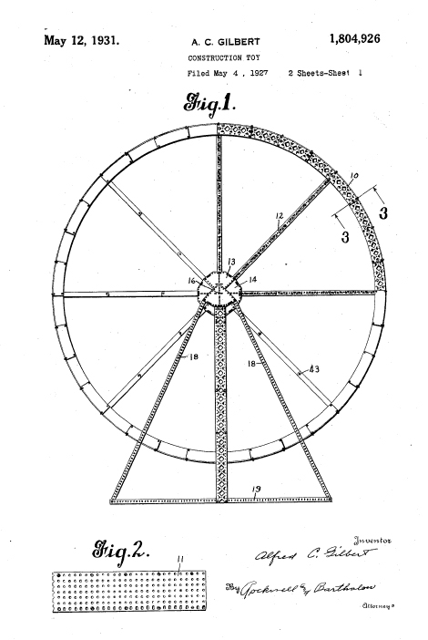. Gilbert Patented the Erector Ferris Wheel Design (Patent 1,804,926