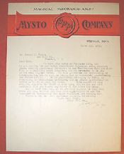 A.C. Gilbert Letter on Mysto Magic Co. Stationery