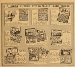 A.C. Gilbert Magic and Puzzle kits from the 1918 Catalogue