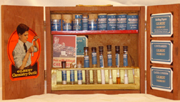 A.C. Gilbert Company Wooden 1920s Chemistry Set as restored