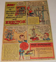 1949 Erector Set advertisement with Superman and the walking giant
