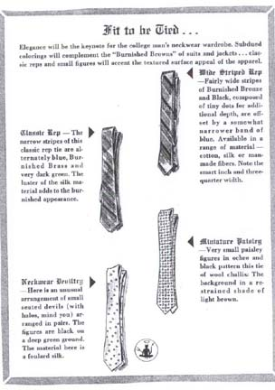 Guide to selecting Ties from the 1959 Esquire Guide to College Style