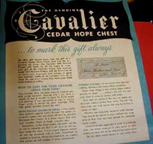Cavalier Cedar Chest Presentation Plaque Description