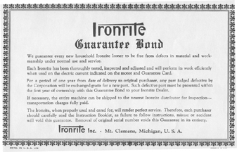 Ironrite Guarantee Bond