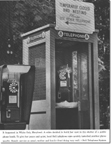 Advertising showing old and new phone booths together