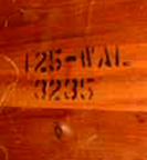 Cavalier Cedar Chest Serial Number example 125 WAL 3235