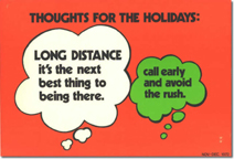 Telephone booth advertising card - thoughts for the holidays