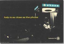 Telephone booth advertising card - help is right at hand