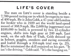 Cover Story about John Cobb, LIFE, 9-01-1947