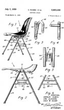 Eames Molded Fiberglass Nesting Chair Design Patent No. 2,893,469