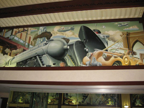 Transportation Mural in the Hotel Edison, NYC showing the Dreyfuss Hudson and the Commodore Vanderbilt