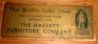Early Cavalier Cedar Chest Label
