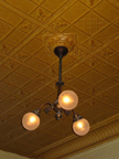 Tin ceiling and Lighting Fixture at Fanellis cafe NYC