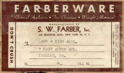 Shipping label for the Farber Robot