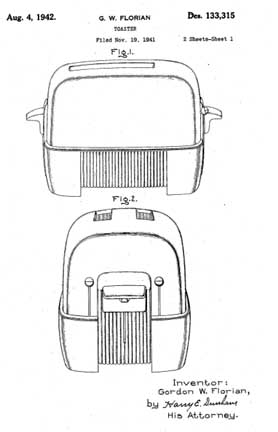 GE 149T77 Toaster Patent D133315