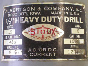 Sioux Drill Manufacturer Plate