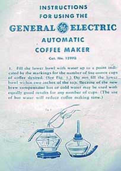 Vacuum Coffee Maker Instructions : Vintage Coffee Paraphernalia
