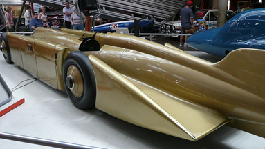 Tailfin of the Golden Arrow land Speed Car