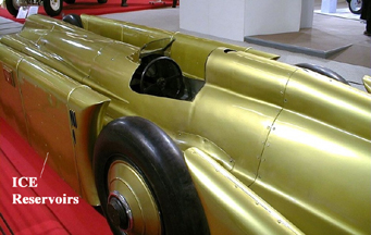 Cockpit of the Golden Arrow land Speed Car showing Ice reservoirs