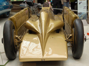 Front view of the Golden Arrow land Speed Car