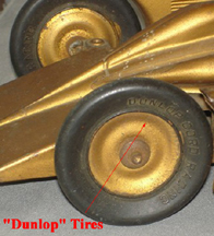 Model of the Golden Arrow land Speed Car, correct tires