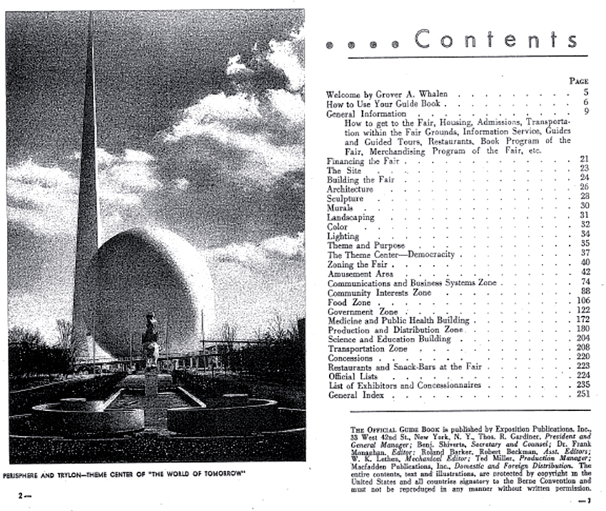 1939 New York Worlds Fair Official Guide Book Table of Contents