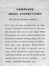 Ironrite Home Demonstration Service