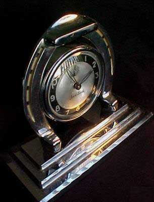 Ingraham Ace Horseshoe Clock-Oblique View