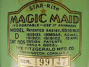 The Magic Maid Manufacturer's plate